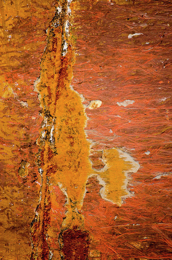 Rust patterns on a reddish brown ship's hull by Frans Blok