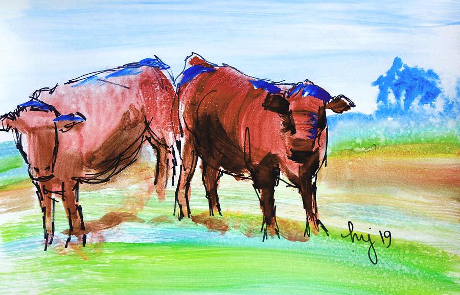 Rust Red Poll Cows - two steer impressionism en plein air sketch painting by Mike Jory