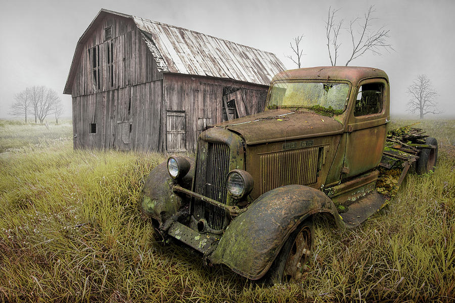 Rusted Vintage Dodge Truck by an Old Weathered Barn by Randall Nyhof