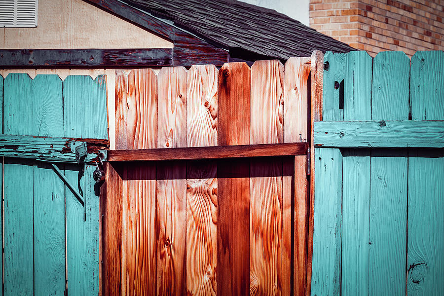 Rustic Cedar Fence With Peeling Blue Paint by Jeanette Fellows