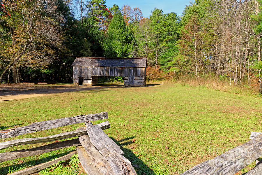 Barn Photograph - Rustic Double Crib Barn And Split Rail Fence In Cades Cove by Louise Heusinkveld