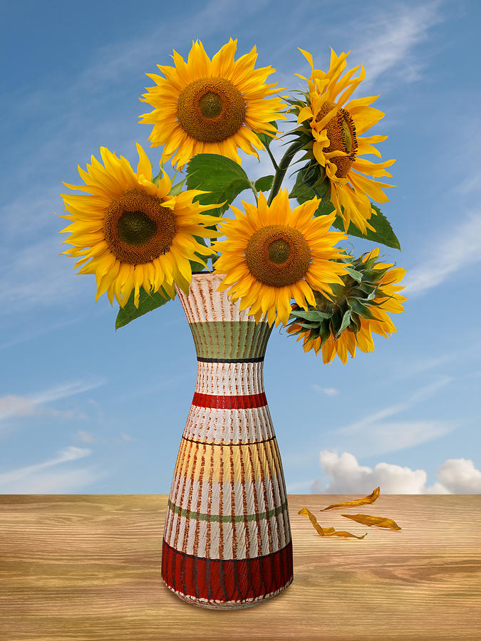 Rustic Flower Vase With Sunflowers by Gill Billington