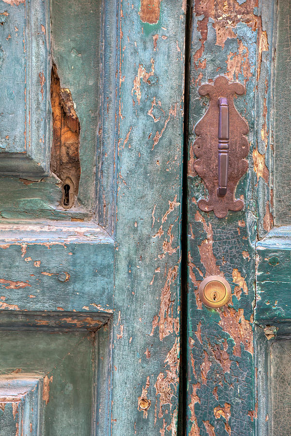 Rustic Green Door of Cortona by David Letts