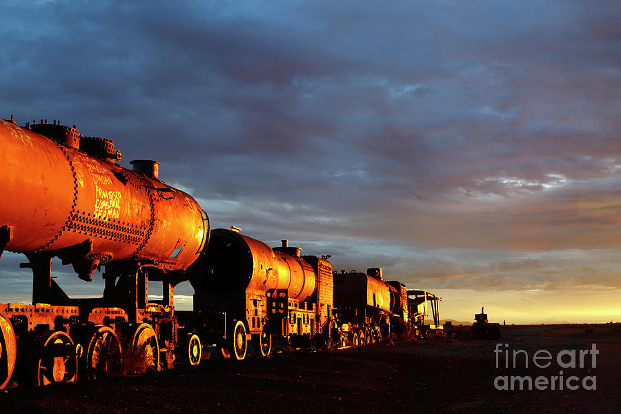 Rusting Steam Trains at Sunset Uyuni Bolivia by James Brunker