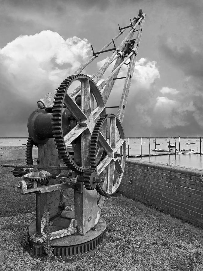 Rusty Boat Winch Burnham On Crouch Harbour In Mono by Gill Billington