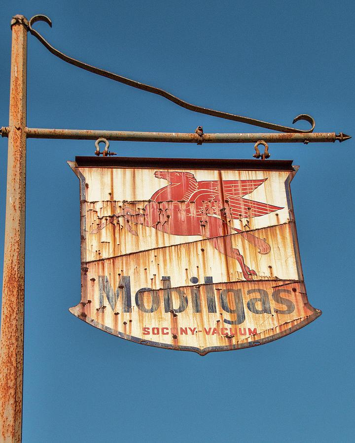 Rusty Mobilgas Sign by Kristia Adams