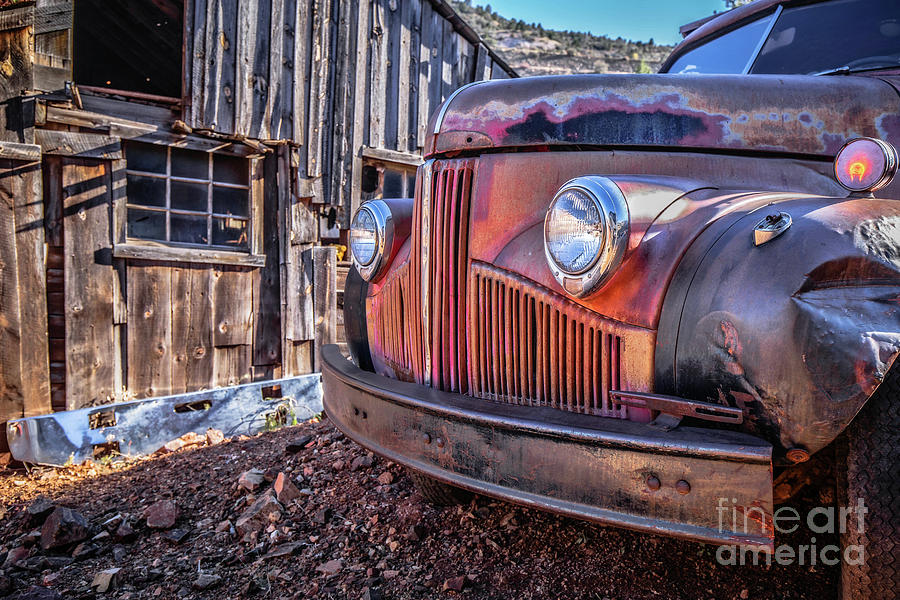 Truck Photograph - Rusty Old Truck In A Ghost Town In Arizona by Edward Fielding