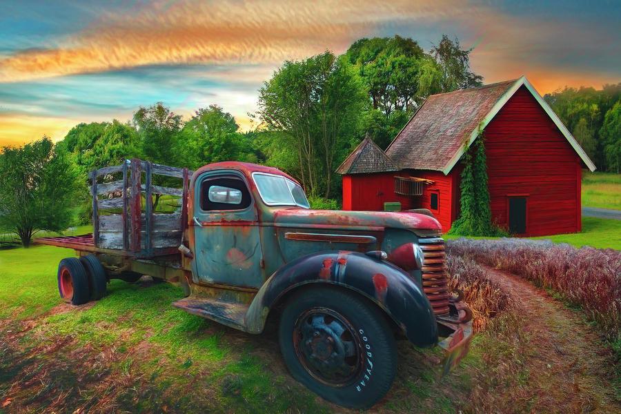 Rusty Truck in the Rural Countryside Watercolor Painting by Debra and Dave Vanderlaan