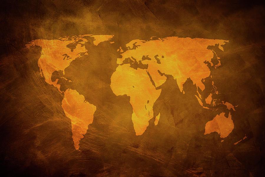 Rusty World Map Photograph by Caracterdesign