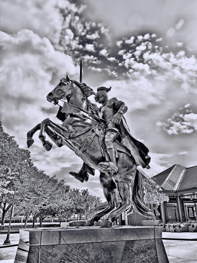 Rutgers Victory Statue # 3 - B And W Photograph