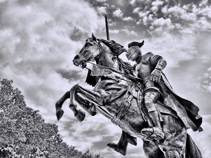 Rutgers Victory Statue # 4 - B And W Photograph