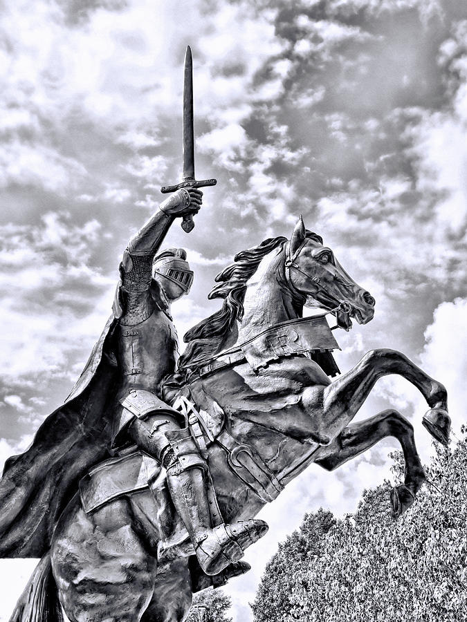 Rutgers Victory Statue # 5 - B And W Photograph