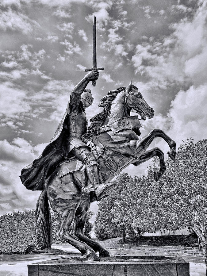 Rutgers Victory Statue # 6 - B And W Photograph
