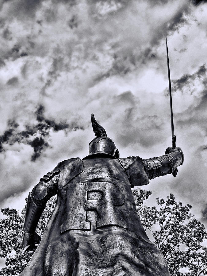 Rutgers Victory Statue # 8 - B And W Photograph