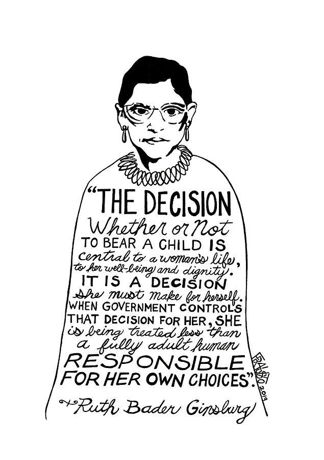 Pen And Ink Illustration Drawing - Ruth Bader Ginsburg Drawing 2 by Rick Frausto