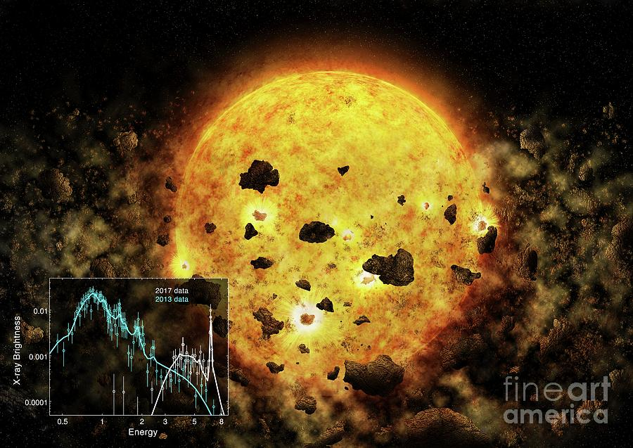 Exoplanet Photograph - Rw Aur A Star Destroying Exoplanet by Nasa/cxc/m. Weiss/mit/h. M. Gunther/science Photo Library