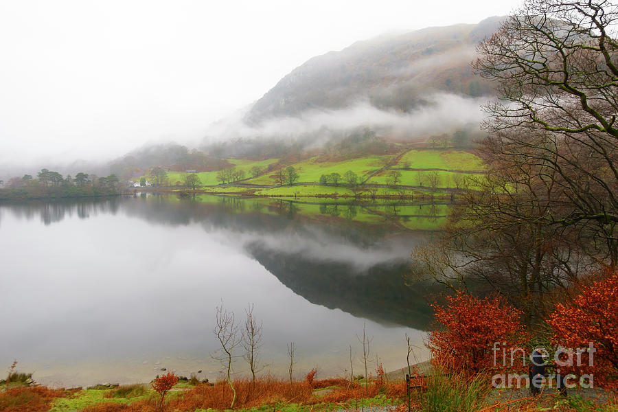 Lake Photograph - Rydal Water On A Misty Day In December by Louise Heusinkveld