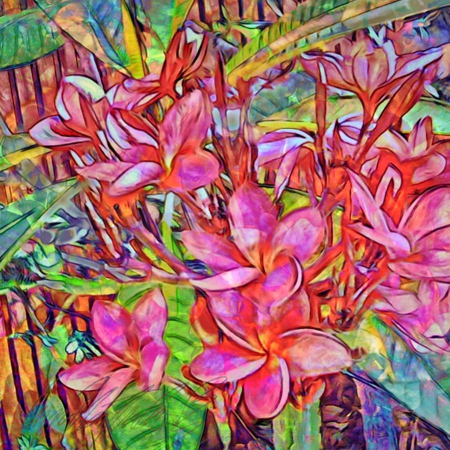 S Brilliant Magenta Frangipani Flowers - Square by Lyn Voytershark