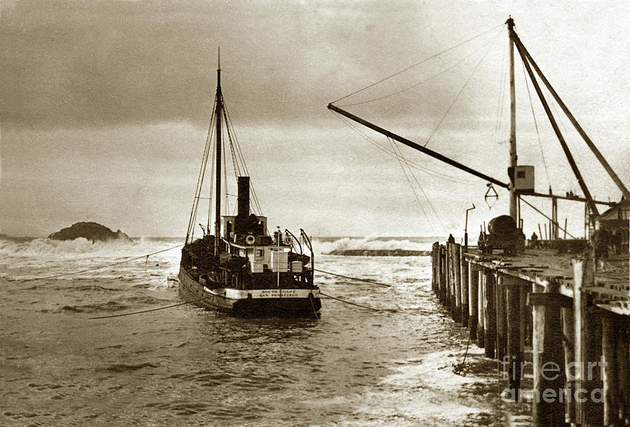 S. S. South Coast a coastal schooner loading at a wharf with Sea by California Views Archives Mr Pat Hathaway Archives