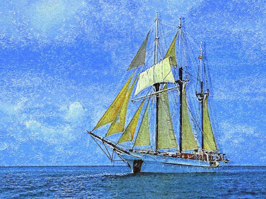 S / V Vela Sailing the Caribbean Impressionism by Island Hoppers Art