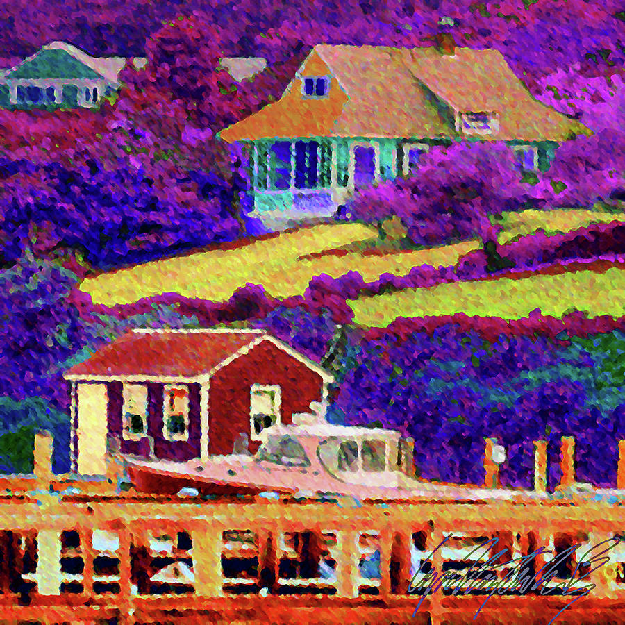 S Vivid View of Menemsha Harborside - Square by Lyn Voytershark