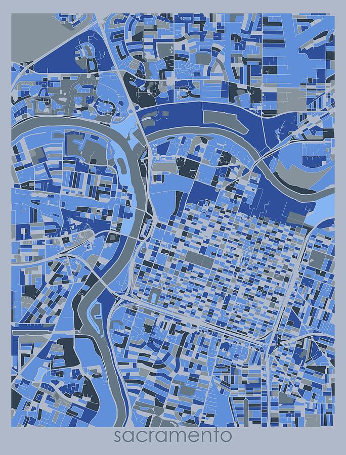 Sacramento Digital Art - Sacramento Map Retro 5 by Bekim M