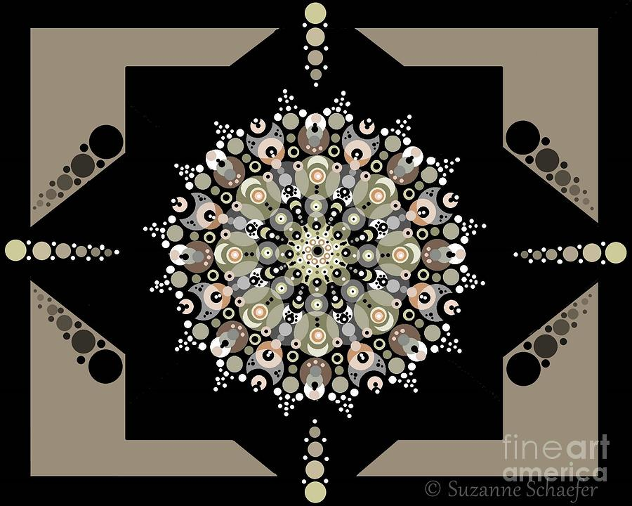 Geometric Design Digital Art - Sacred Circle Design In Gold, Cream And White by Suzanne Schaefer