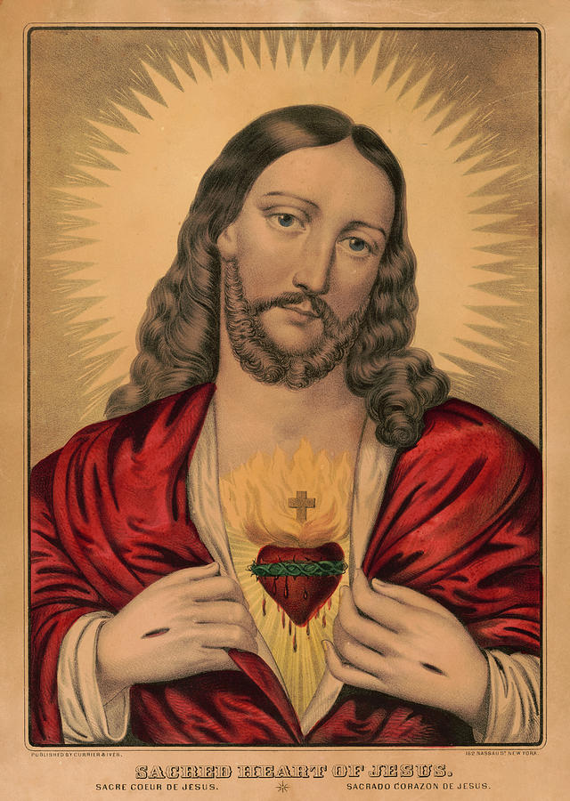 Sacred Heart Jesus Painting - Sacred Heart Of Jesus, 1835 by American School