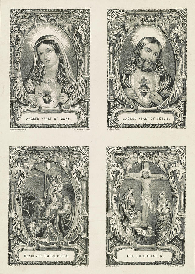 Sacred Heart Of Jesus Painting - Sacred Heart Of Mary, 1848 by American School