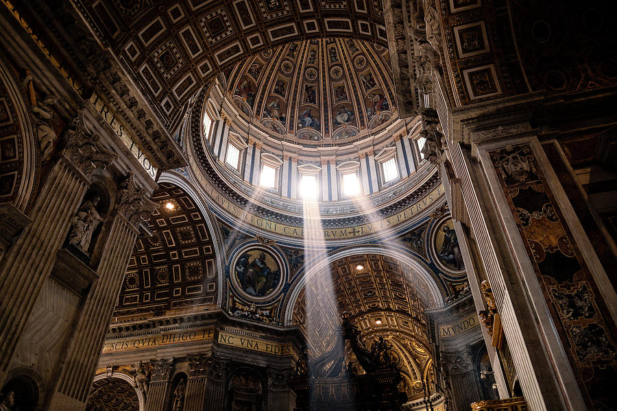St. Peter's Basilica Photograph - Sacred Light From Above by Razvan Lungu