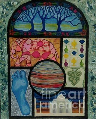 Stained Glass Painting - Sacred Universe  by Caroline Cunningham