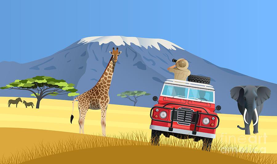 Ecosystem Digital Art - Safari Truck In African Savannah by Nikola Knezevic