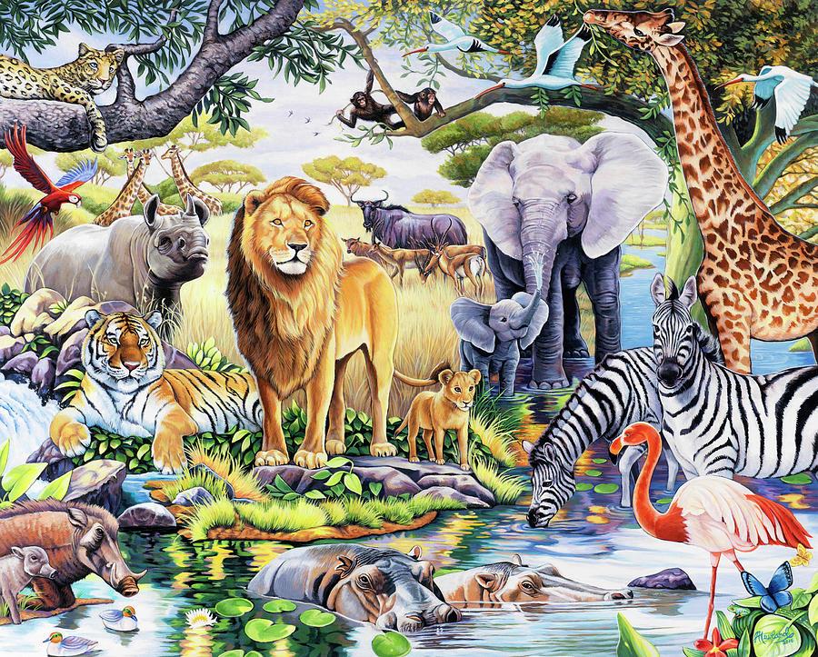 Jungle Painting - Safari Wildlife by Jenny Newland