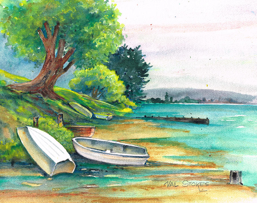 Harbour Painting - Safe Mooring-whangamata Harbour. by Val Stokes