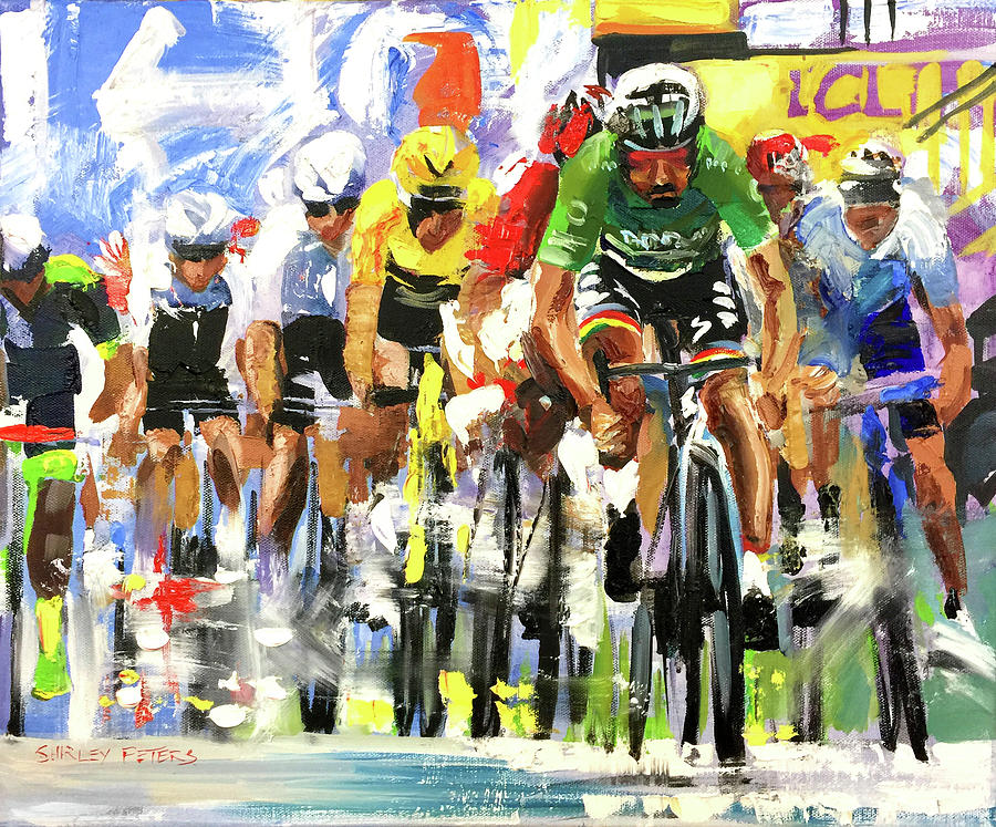 Le Tour De France Painting - Sagan Finish 2019 by Shirley Peters