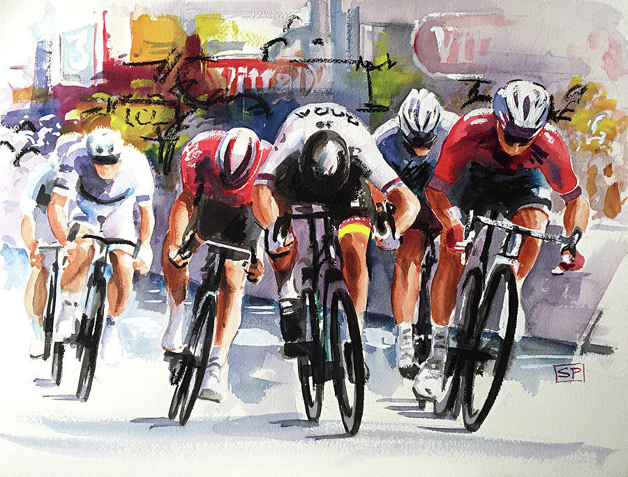 Sprint Painting - Sagan Sprint Finish Stage 2 by Shirley Peters