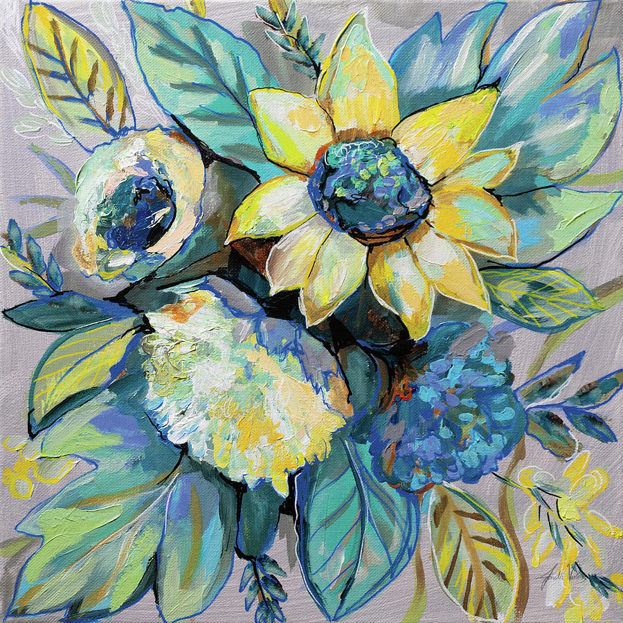 Blue Painting - Sage And Sunflowers I by Jeanette Vertentes