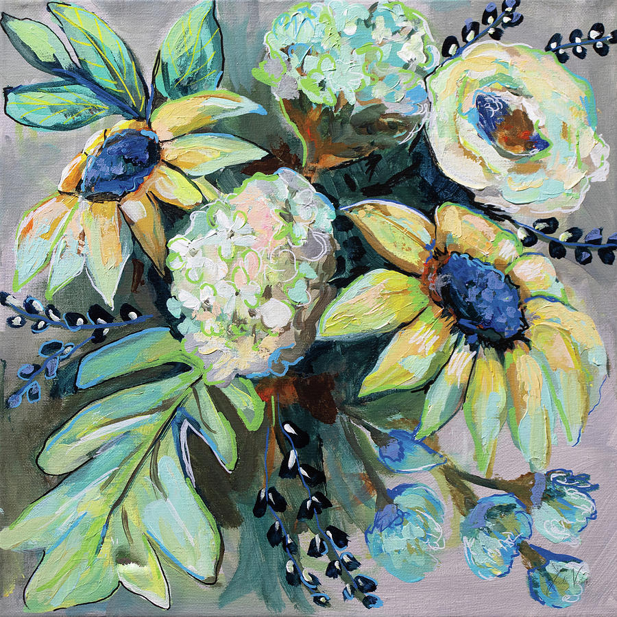 Blue Painting - Sage And Sunflowers II by Jeanette Vertentes