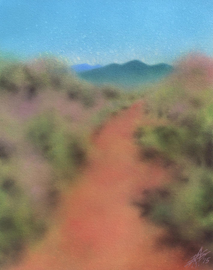 Landscape Painting - Chaparral Path to Black Mountain II by Robin Street-Morris