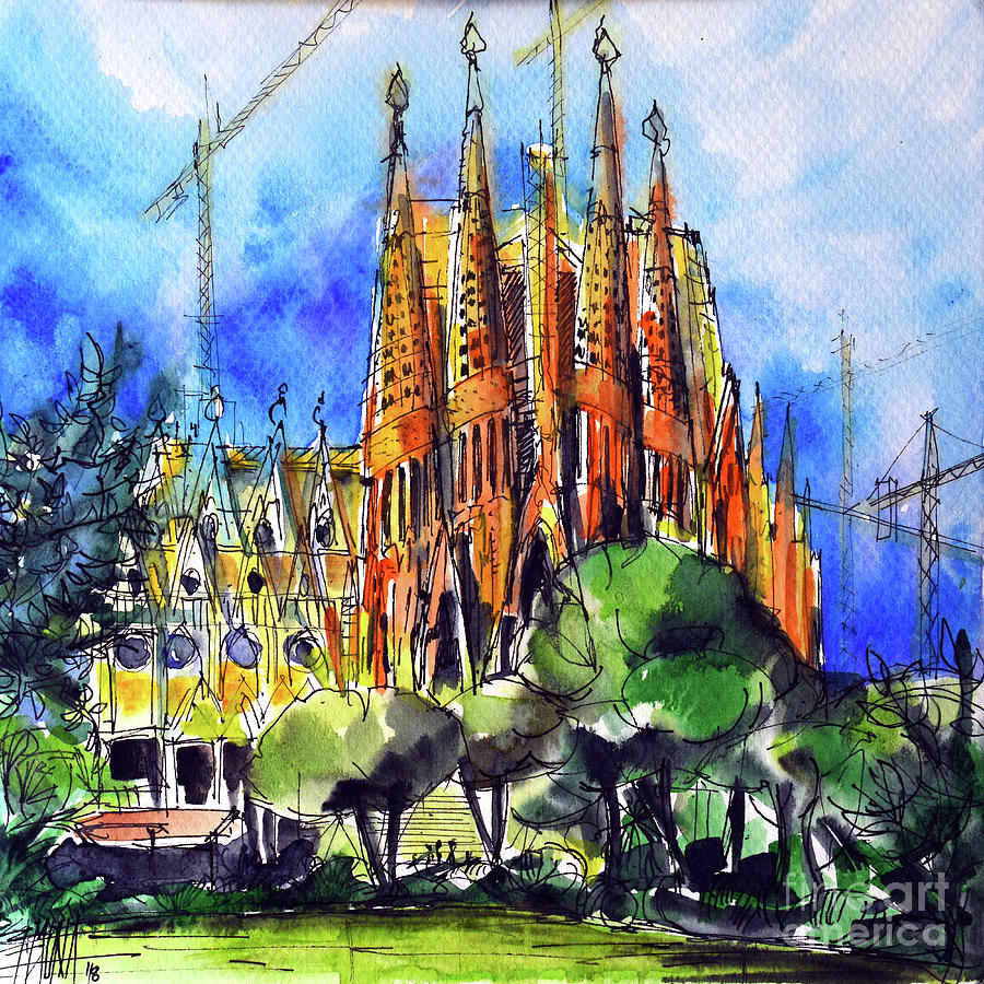 Barcelona Painting - SAGRADA FAMILIA BARCELONA watercolor painting Mona Edulesco by Mona Edulesco