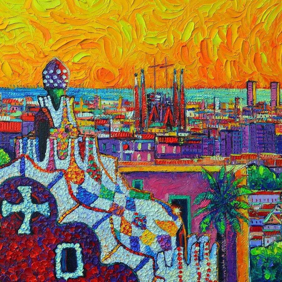 SAGRADA FAMILIA FROM PARK GUELL BARCELONA DAWN LIGHT impasto knife oil painting Ana Maria Edulescu by ANA MARIA EDULESCU