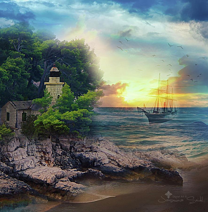 Sailing Digital Art - Sail Peacefully by Jasmina Seidl