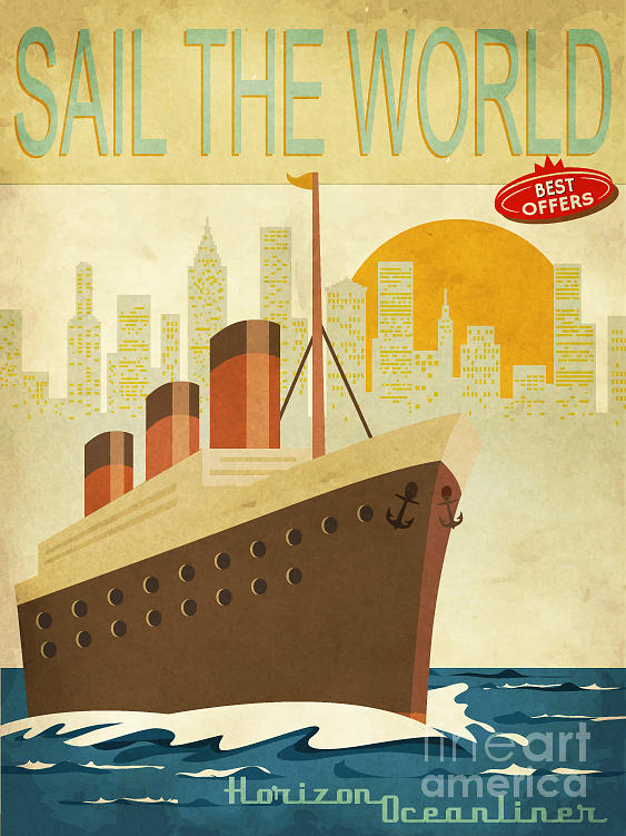 Commercial Digital Art - Sail The World - Vintage Poster With by Lanan