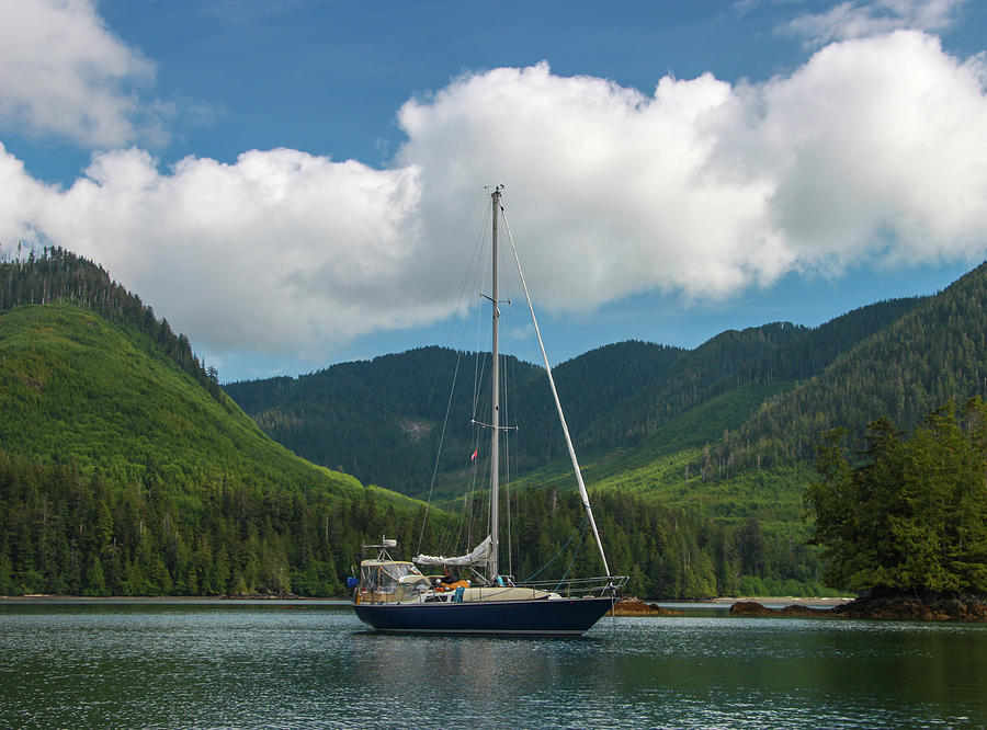 Sailboat at Anchor in Verdant Green Valley by Pacific Northwest Sailing
