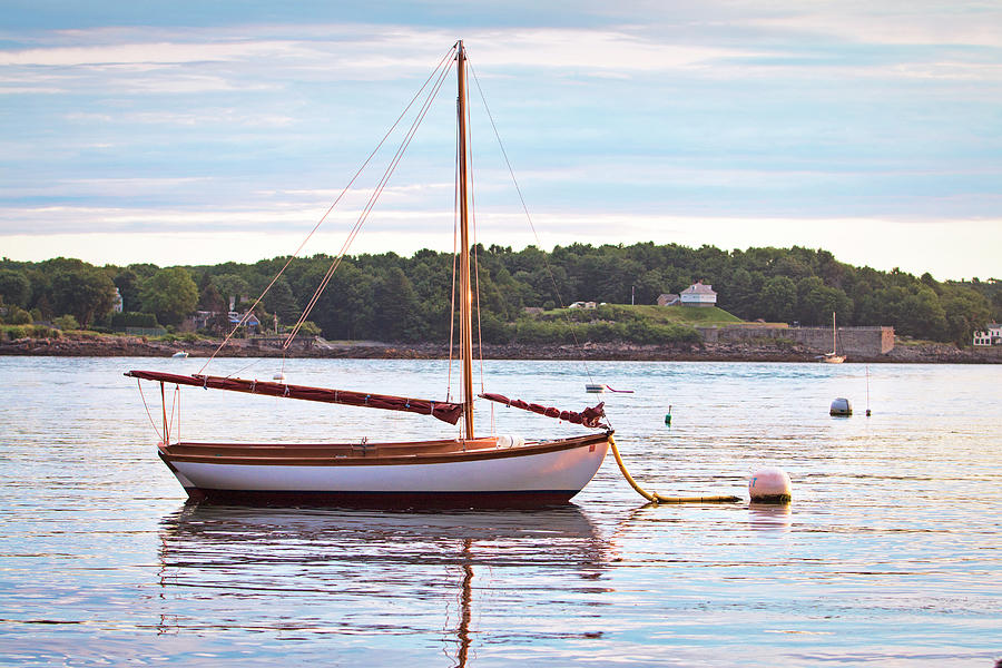 Sailboat Photograph - Sailboat At Sunrsie by Eric Gendron