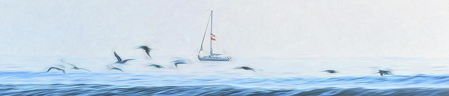 Sailboat Beyond The Surf by Steven Sparks