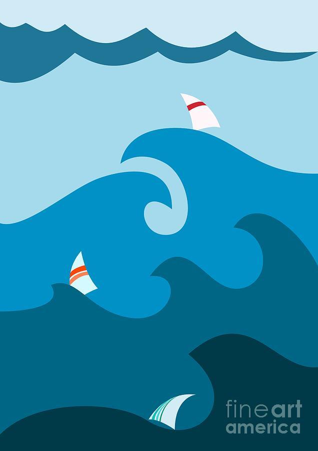Sailboat Digital Art - Sailboat On Stormy Seas by Martin Nezval