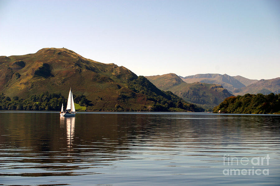 Sailboat Photograph - Sailboat On Ullswater In The Lake by Paul Banton