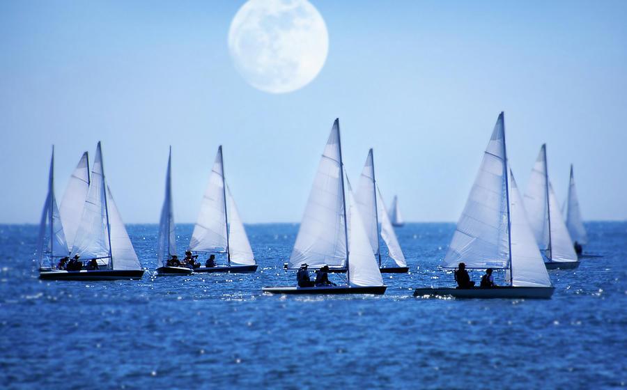 Sailboat Race With Moonrise, Cape Cod Photograph by Grant Faint