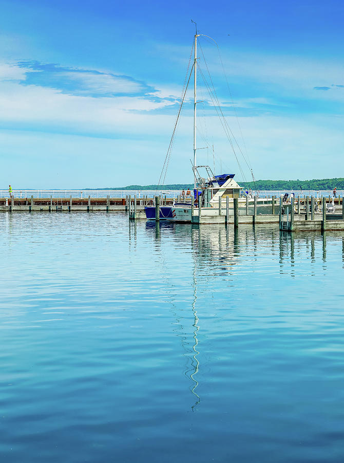 Sailboat Reflections At The Dock by Dan Sproul